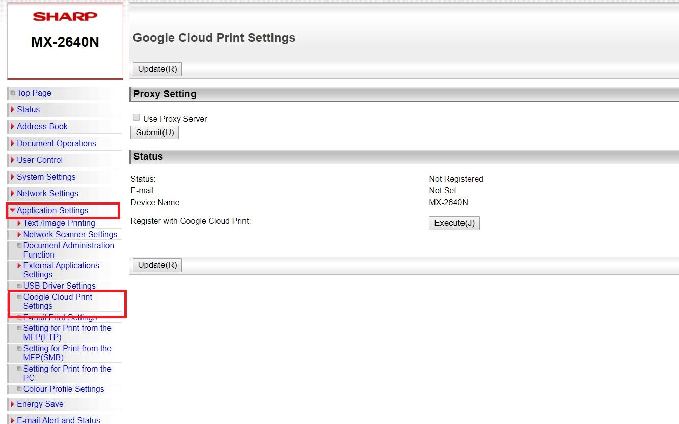 Setting up Google Cloud Print, SHARP – Newman Business Solutions